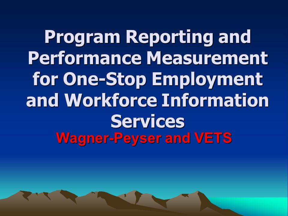 Wagner-Peyser and VETS Program Reporting and Performance Measurement for One-Stop Employment and Workforce Information Services