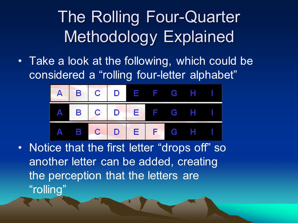 "The Rolling Four-Quarter Methodology Explained Take a look at the following, which could be considered a ""rolling four-letter alphabet"" Notice that th"