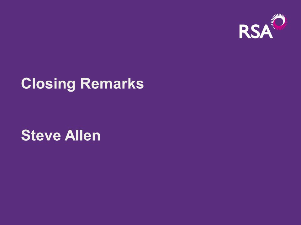 Closing Remarks Steve Allen