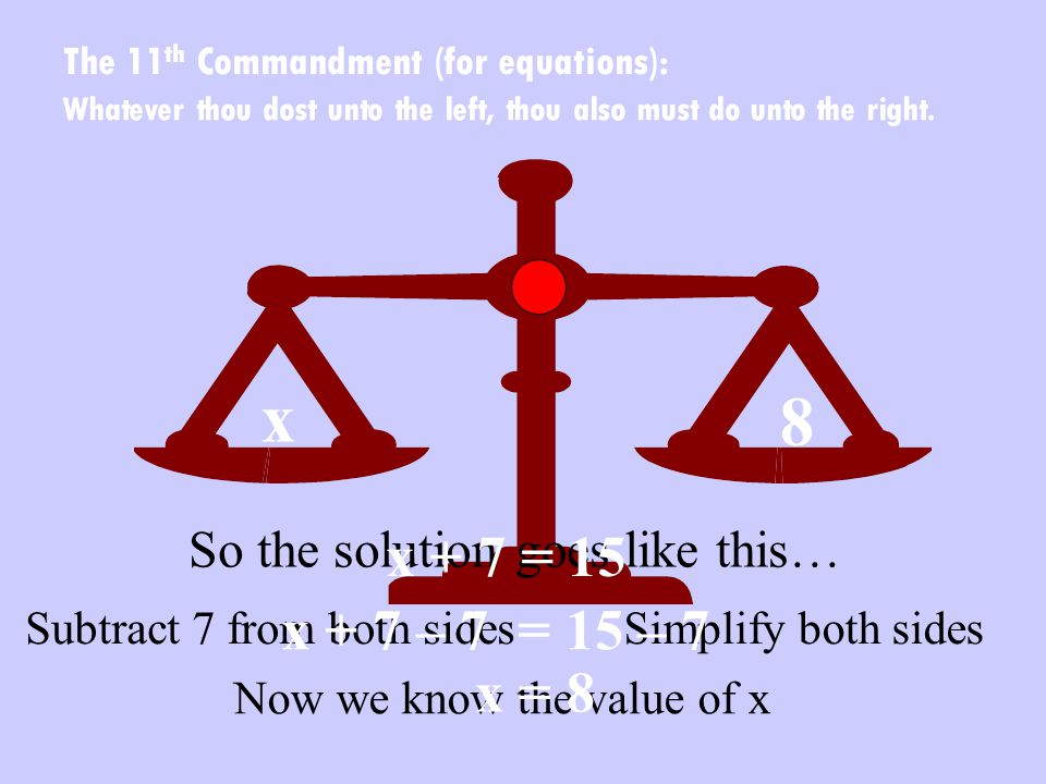 x 8 Subtract 7 from both sidesSimplify both sides Now we know the value of x Whatever thou dost unto the left, thou also must do unto the right.
