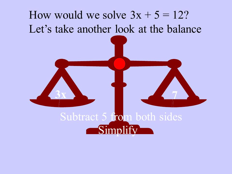 3x 7 How would we solve 3x + 5 = 12.