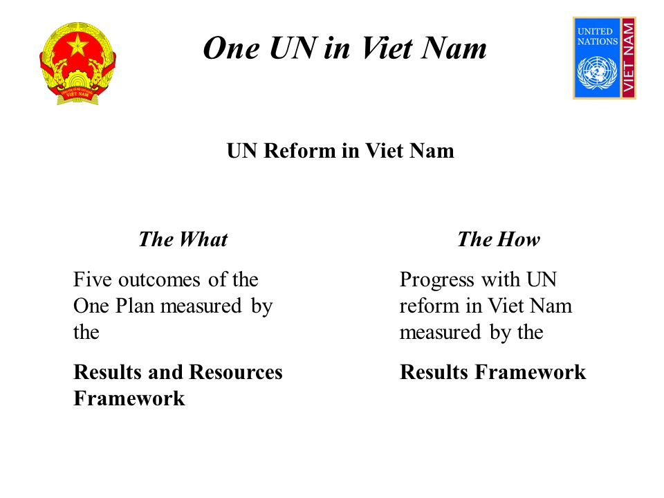 One UN in Viet Nam Outcome 4 Assumes One Plan Fund transition from OP1 to OP2 achieved MoU for One Leader is institutionally sustainable Conflict resolution robust enough to avoid escalation UN HQs agree to simplified reporting (HPPMG) OPFMAC utilises transparent performance info HQ/governing bodies change resourcing culture Common approach to overheads and cost recovery