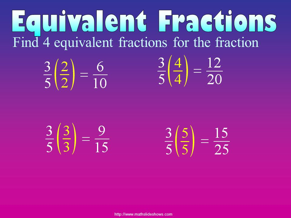http://www.mathslideshows.com Find 4 equivalent fractions for the fraction