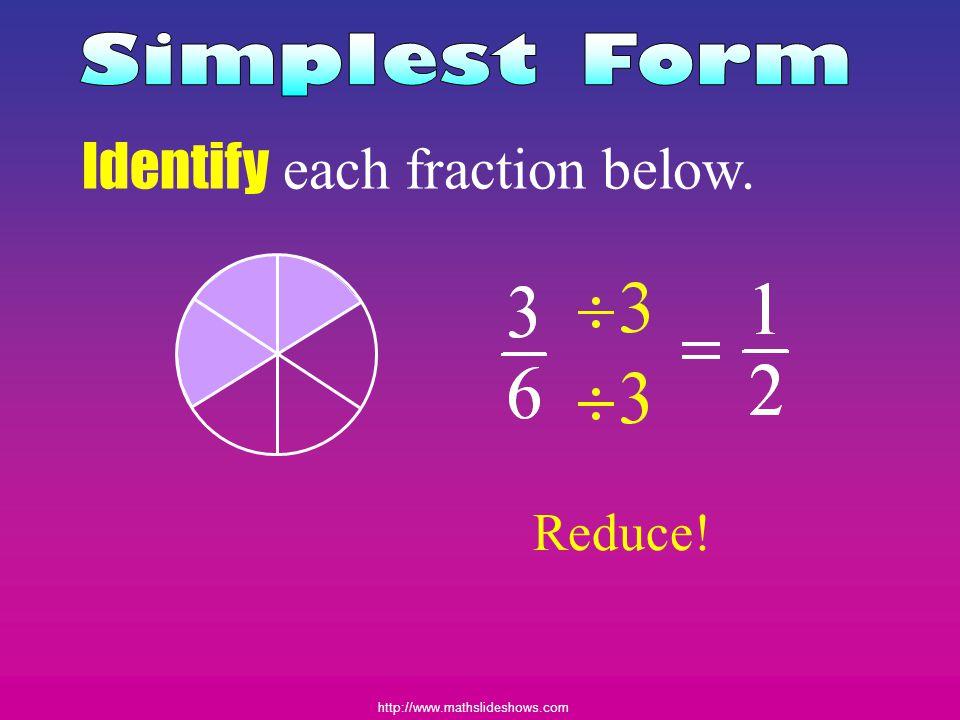 http://www.mathslideshows.com Identify each fraction below. Reduce!