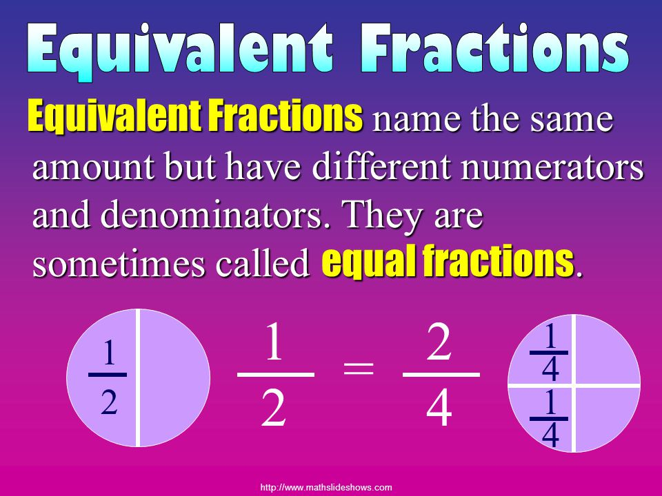 http://www.mathslideshows.com Identify each fraction below. Reduce!