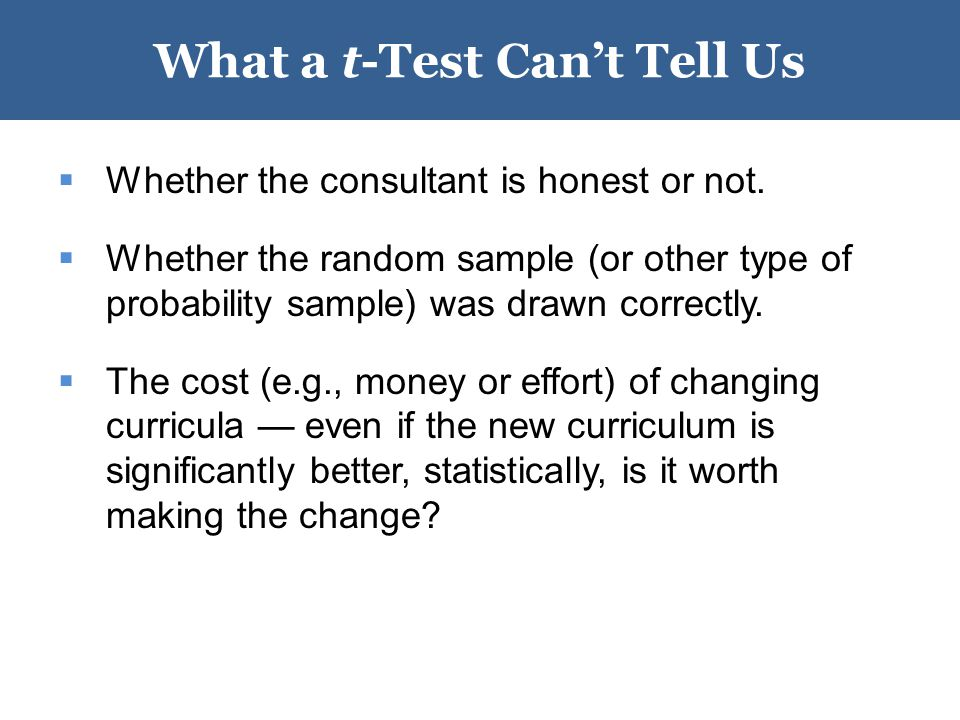 What a t-Test Can't Tell Us  Whether the consultant is honest or not.