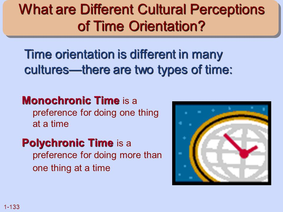 1-133 What are Different Cultural Perceptions of Time Orientation? Monochronic Time Monochronic Time is a preference for doing one thing at a time Pol