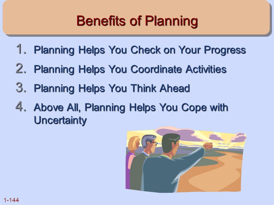 1-144 Benefits of Planning 1. Planning Helps You Check on Your Progress 2. Planning Helps You Coordinate Activities 3. Planning Helps You Think Ahead