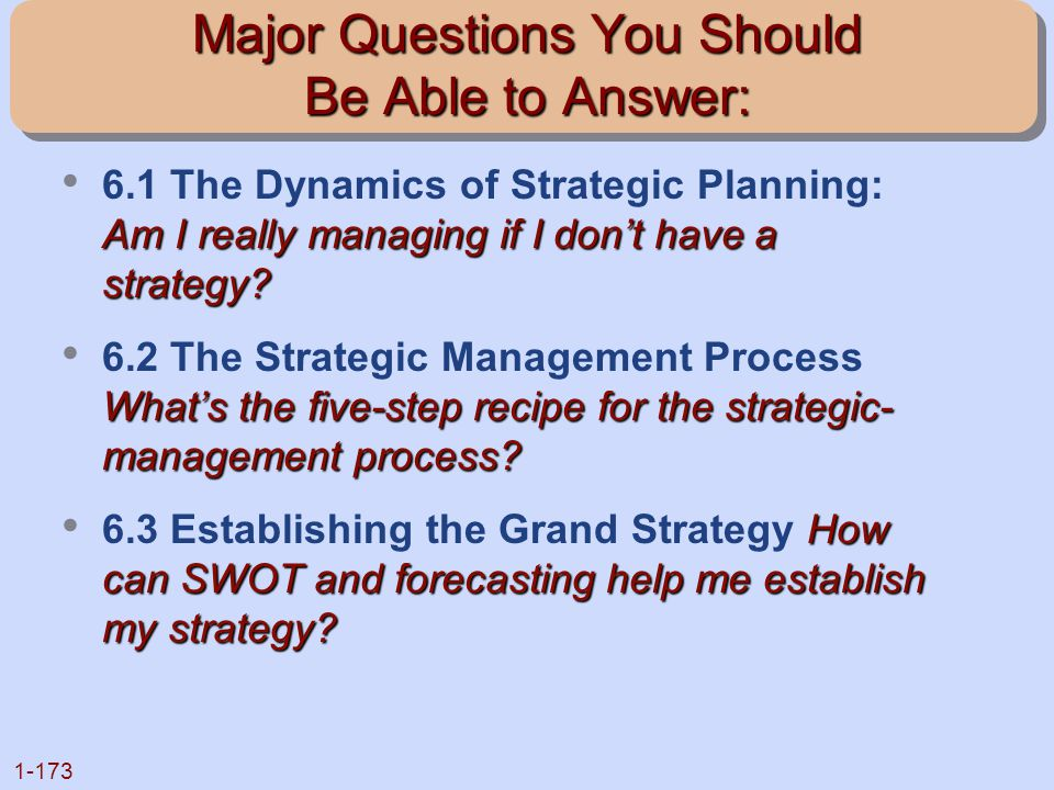 1-173 Major Questions You Should Be Able to Answer: Am I really managing if I don't have a strategy? 6.1 The Dynamics of Strategic Planning: Am I real