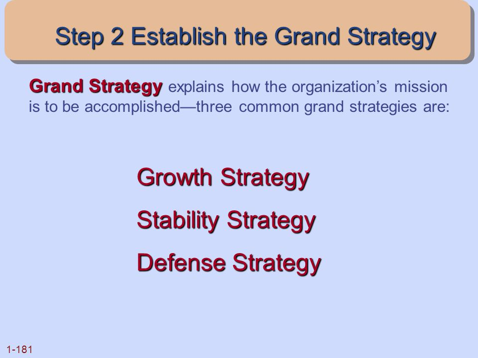 1-181 Growth Strategy Stability Strategy Defense Strategy Grand Strategy Grand Strategy explains how the organization's mission is to be accomplished—