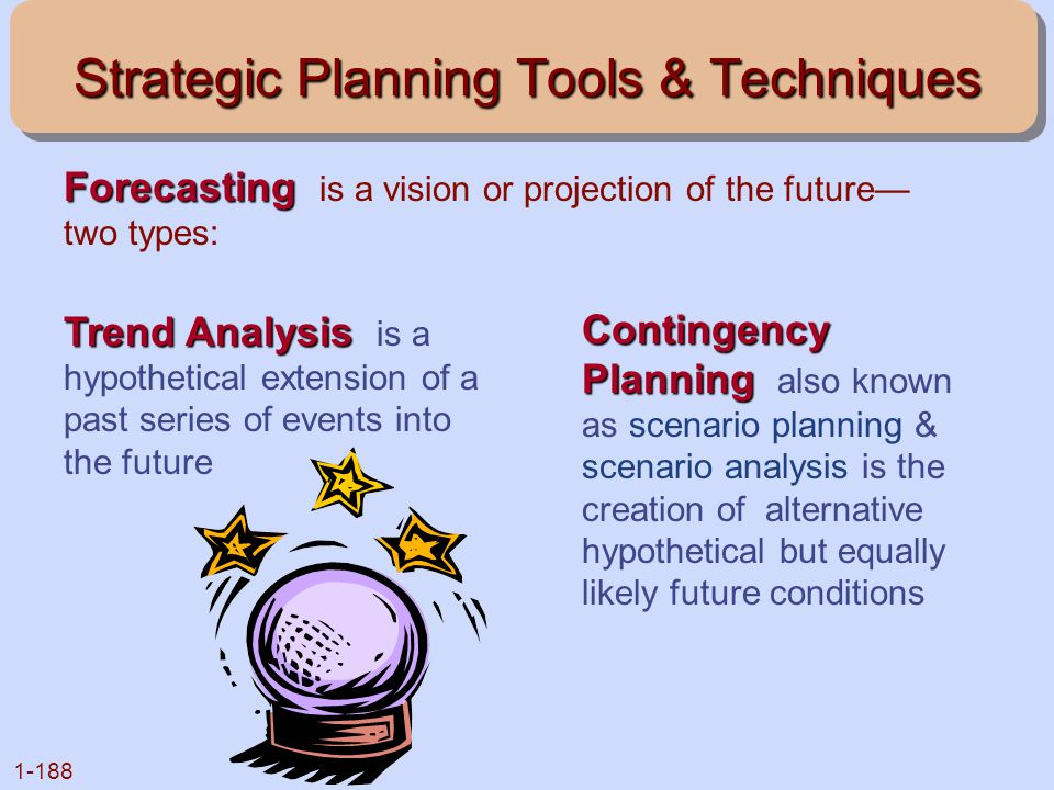 1-188 Strategic Planning Tools & Techniques Forecasting Forecasting is a vision or projection of the future— two types: Trend Analysis Trend Analysis