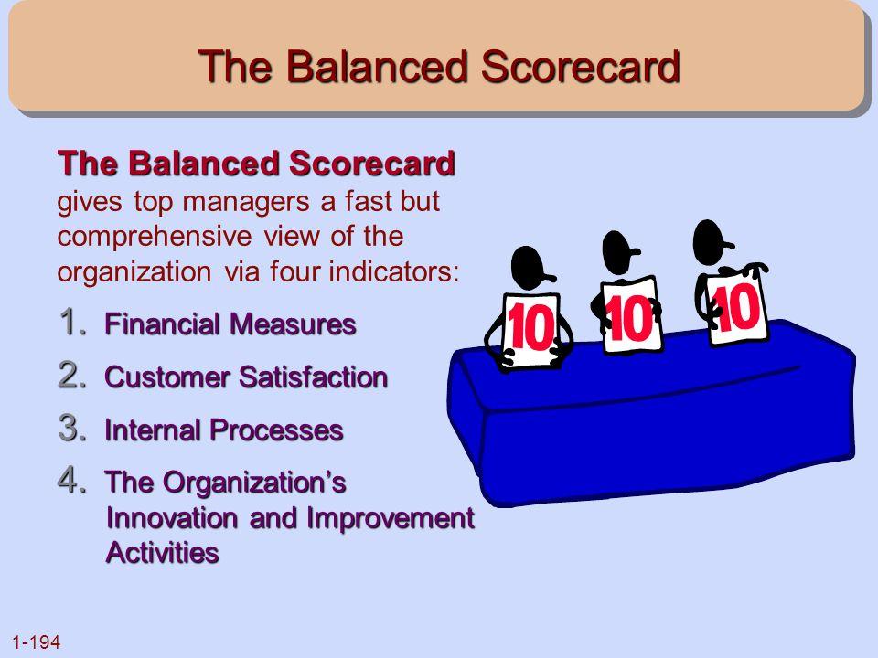 1-194 The Balanced Scorecard The Balanced Scorecard The Balanced Scorecard gives top managers a fast but comprehensive view of the organization via fo