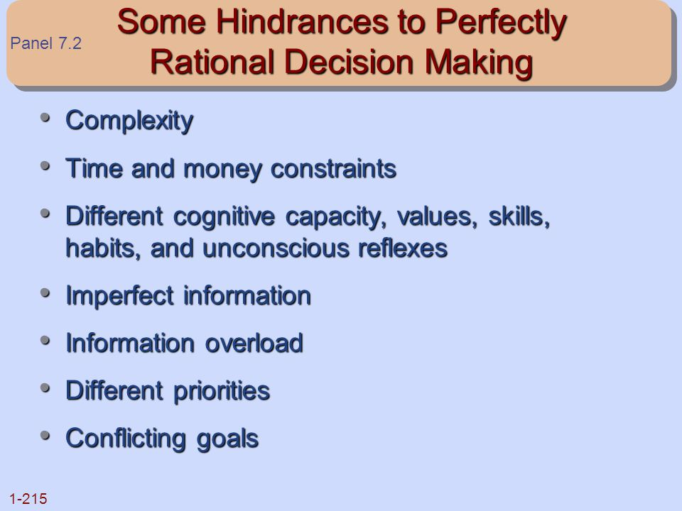 1-215 Some Hindrances to Perfectly Rational Decision Making Complexity Complexity Time and money constraints Time and money constraints Different cogn