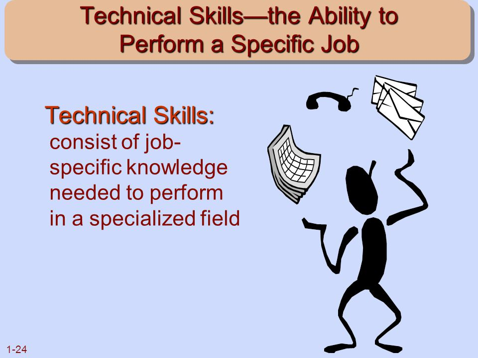1-24 Technical Skills—the Ability to Perform a Specific Job Technical Skills: Technical Skills: consist of job- specific knowledge needed to perform i