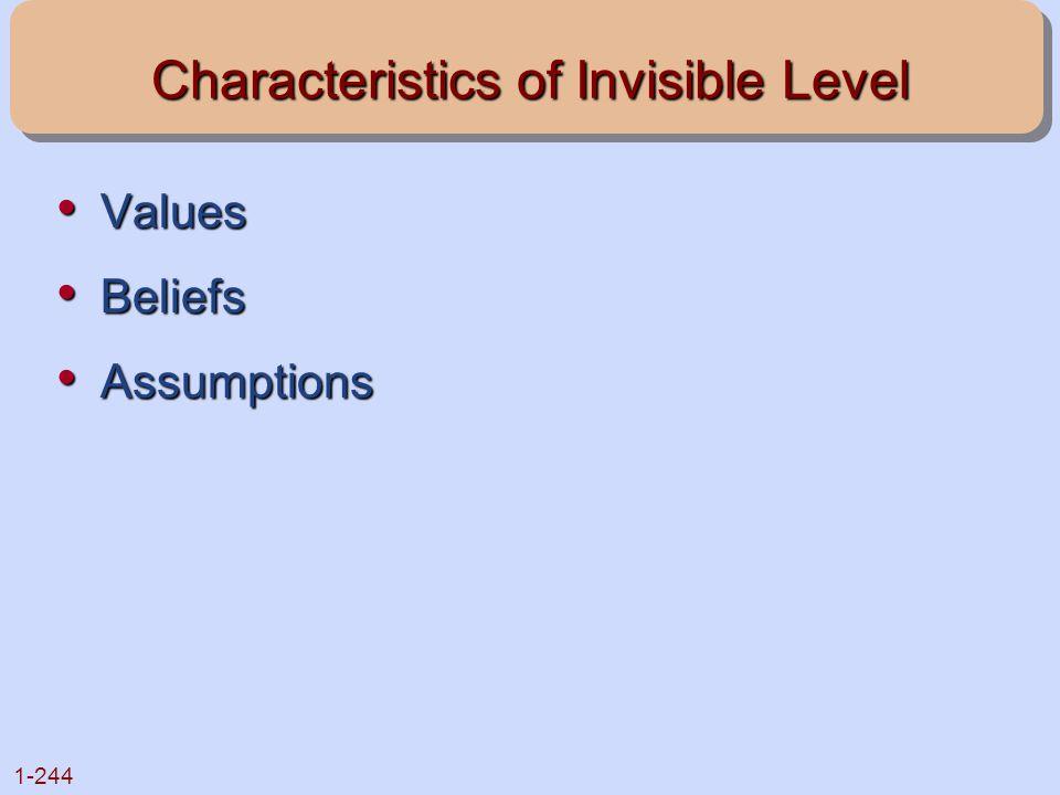 1-244 Characteristics of Invisible Level Values Values Beliefs Beliefs Assumptions Assumptions