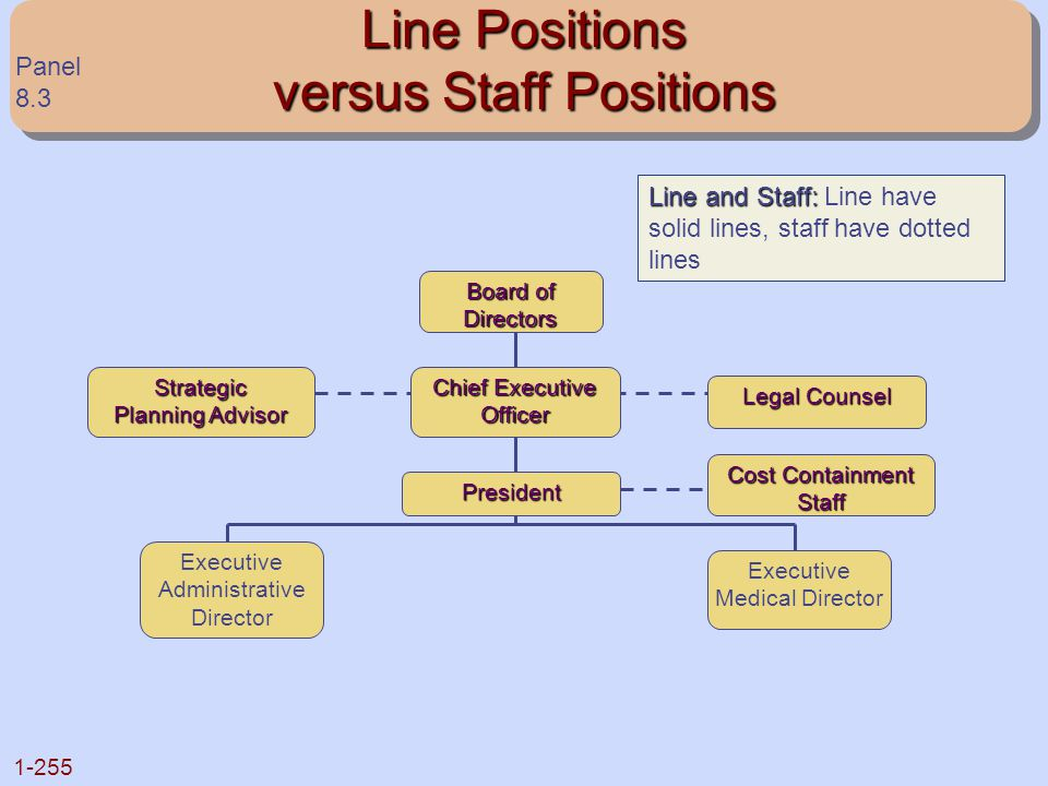 1-255 Line Positions versus Staff Positions Board of Directors Strategic Planning Advisor Chief Executive Officer Legal Counsel President Cost Contain