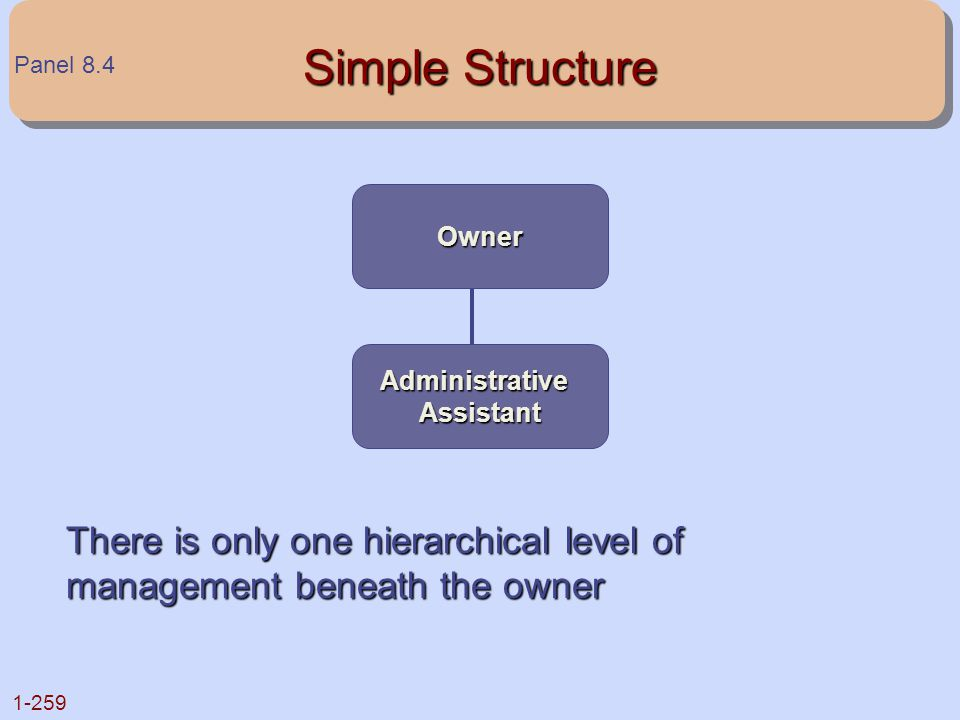 1-259 Simple Structure There is only one hierarchical level of management beneath the owner Owner AdministrativeAssistant Panel 8.4