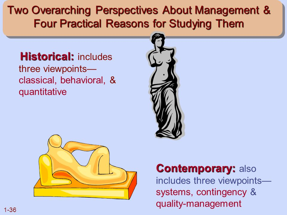 1-36 Two Overarching Perspectives About Management & Four Practical Reasons for Studying Them Historical: Historical: includes three viewpoints— class