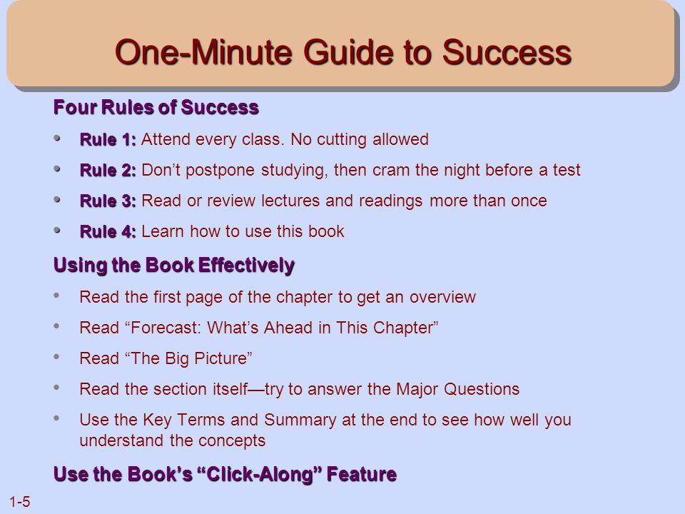 1-5 One-Minute Guide to Success Four Rules of Success Rule 1: Rule 1: Attend every class. No cutting allowed Rule 2: Rule 2: Don't postpone studying,