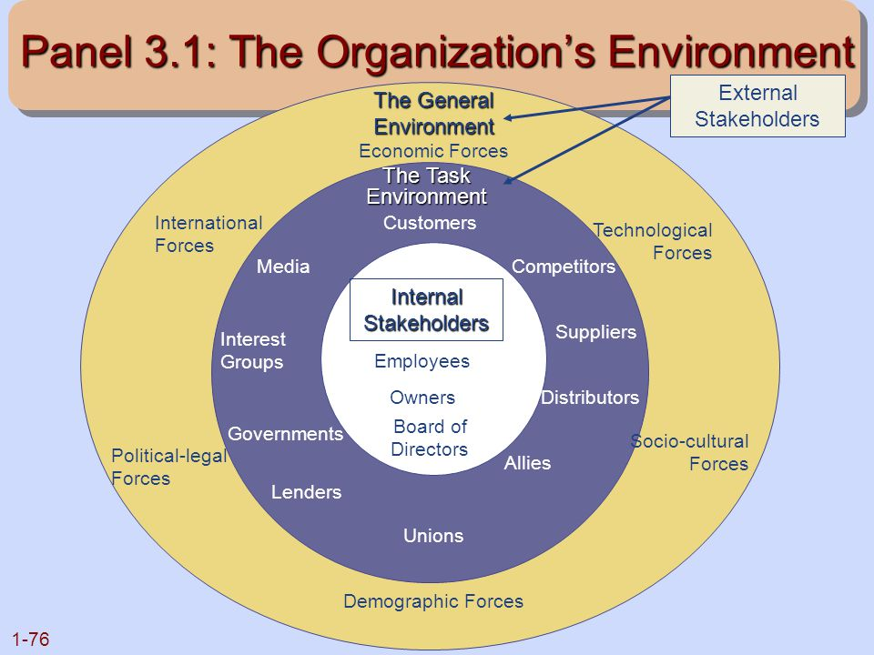 1-76 Panel 3.1: The Organization's Environment The General Environment The General Environment Economic Forces International Forces Technological Forc