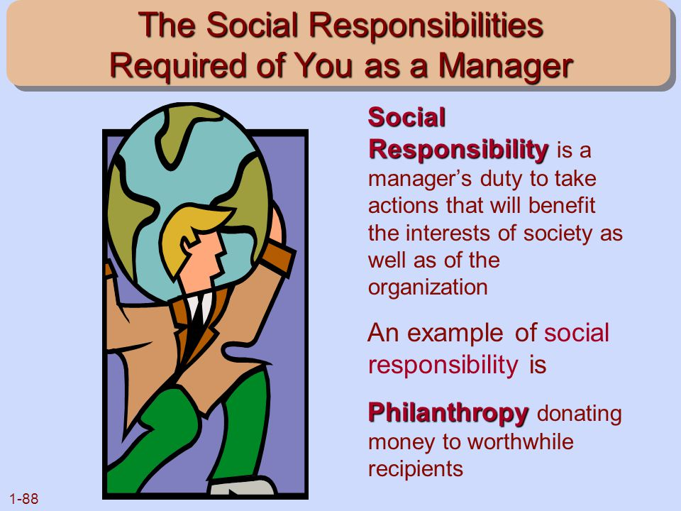 1-88 The Social Responsibilities Required of You as a Manager Social Responsibility Social Responsibility is a manager's duty to take actions that wil
