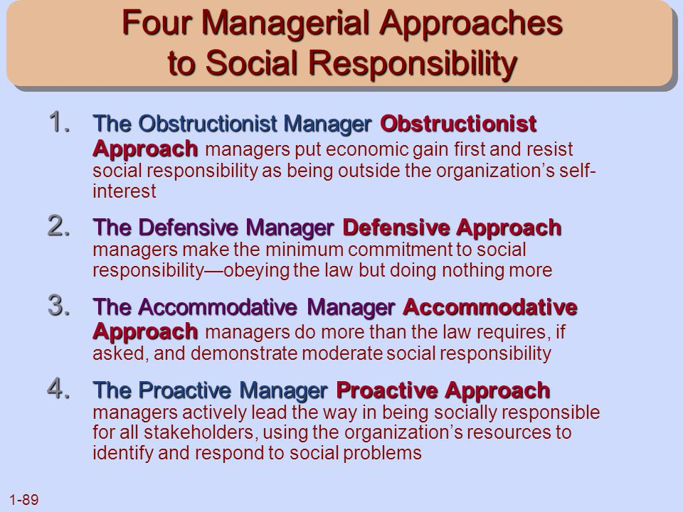 1-89 Four Managerial Approaches to Social Responsibility 1. The Obstructionist Manager Obstructionist Approach 1. The Obstructionist Manager Obstructi