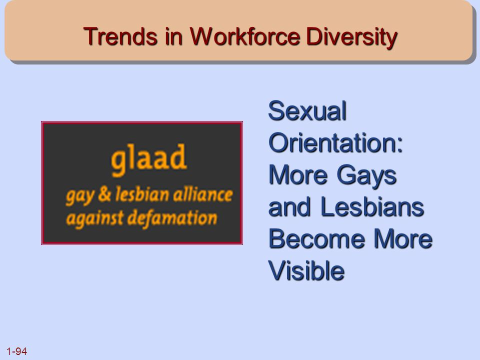 1-94 Trends in Workforce Diversity Sexual Orientation: More Gays and Lesbians Become More Visible