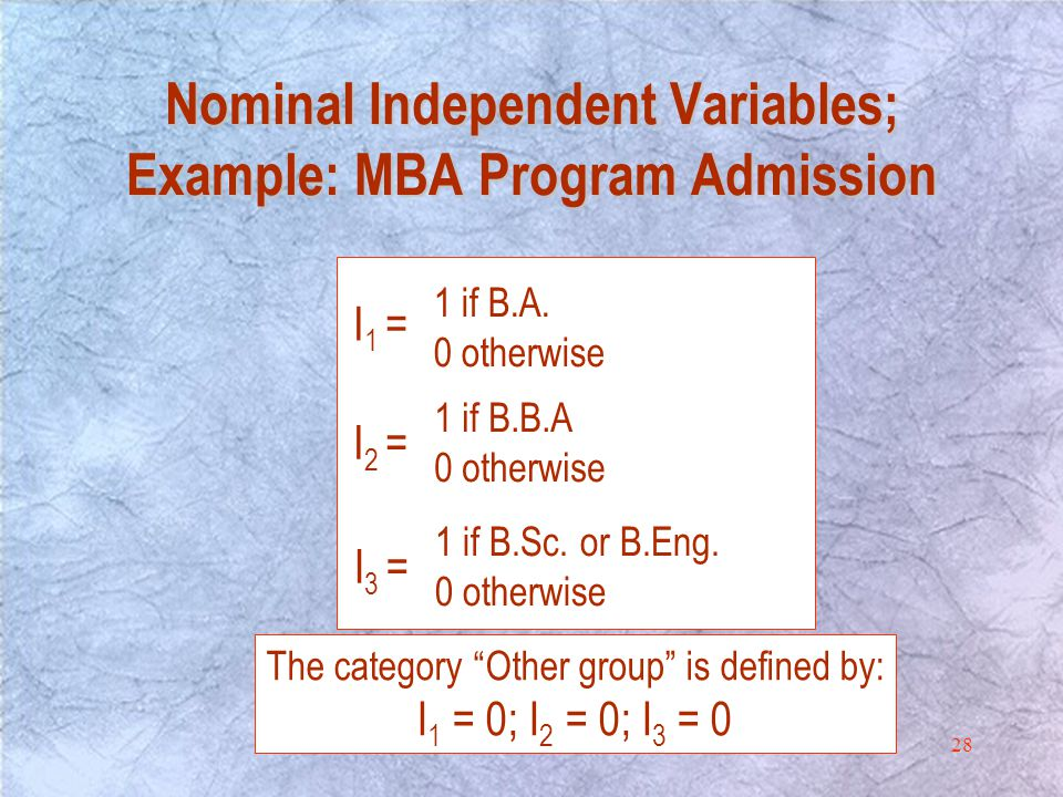 28 Nominal Independent Variables; Example: MBA Program Admission I 1 = 1 if B.A.