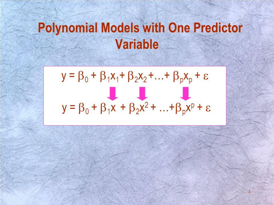 4 y =  0 +  1 x 1 +  2 x 2 +…+  p x p +  y =  0 +  1 x +  2 x 2 + …+  p x p +  Polynomial Models with One Predictor Variable Polynomial Models with One Predictor Variable