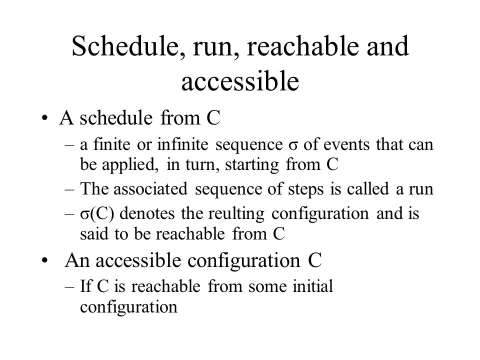 Lemma 1 Suppose that from some configuration C, the schedules σ 1 and σ 2 lead to configuration C 1,C 2, respectively.