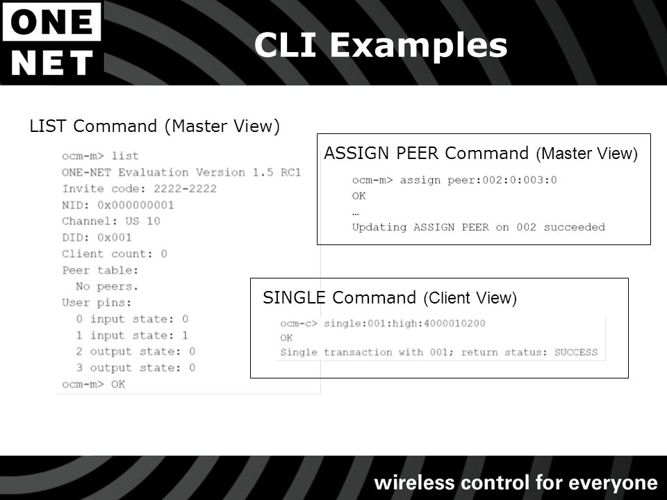 CLI Examples LIST Command (Master View) ASSIGN PEER Command (Master View) SINGLE Command (Client View)