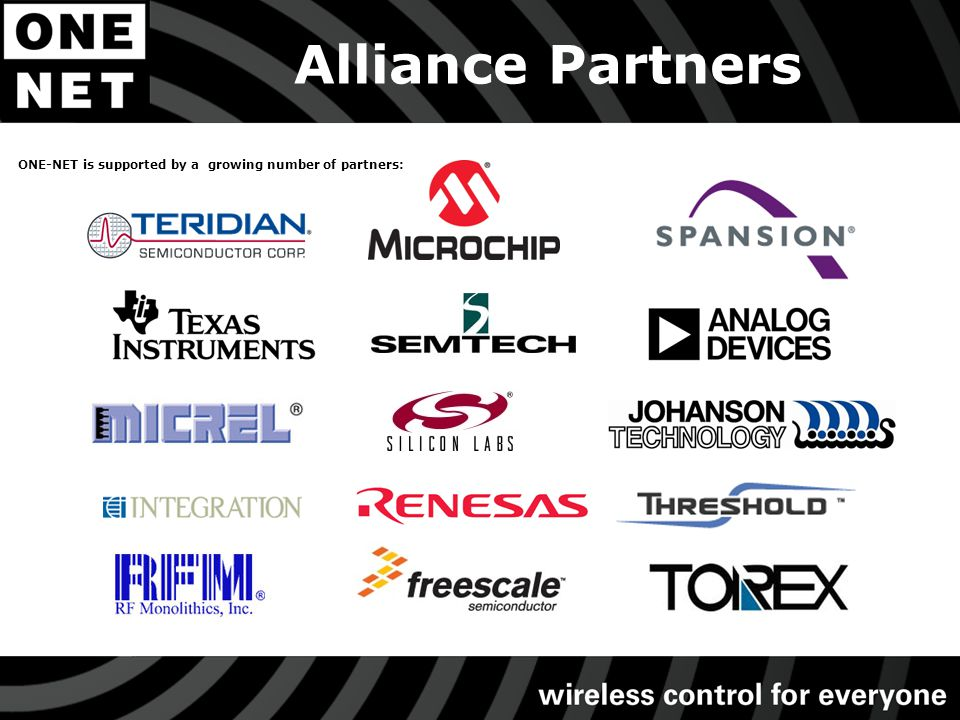 Alliance Partners ONE-NET is supported by a growing number of partners: