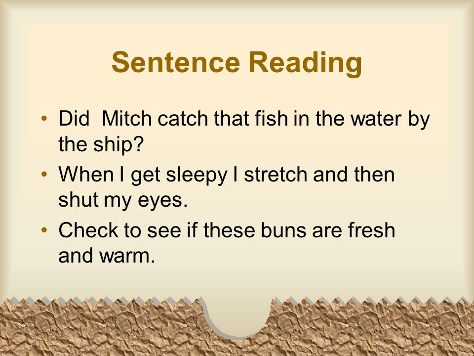 Sentence Reading Did Mitch catch that fish in the water by the ship.