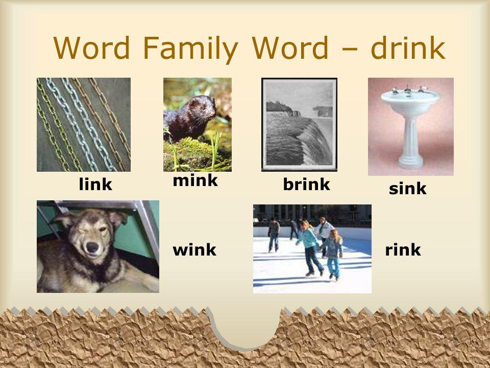 Word Family Word – drink link mink brink sink wink rink