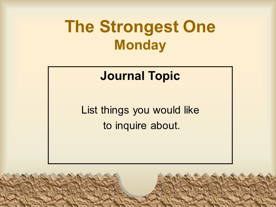 The Strongest One Monday Journal Topic List things you would like to inquire about.