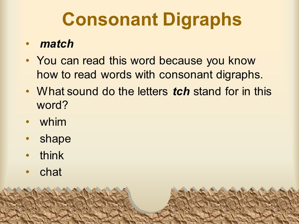 Consonant Digraphs match You can read this word because you know how to read words with consonant digraphs.
