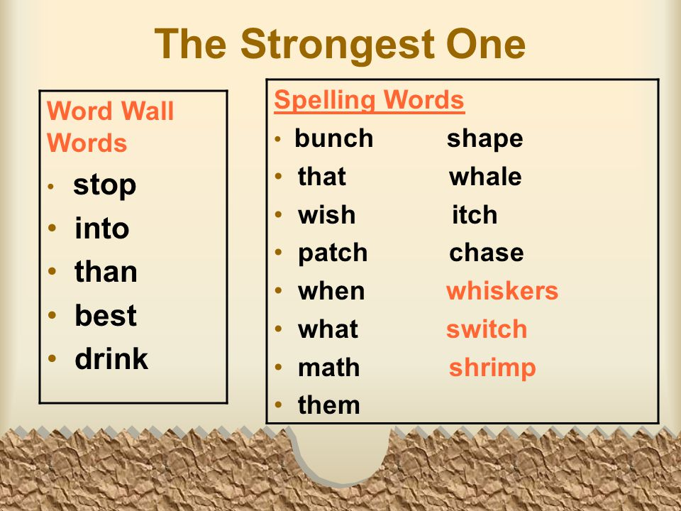The Strongest One Word Wall Words stop into than best drink Spelling Words bunch shape that whale wish itch patch chase when whiskers what switch math shrimp them