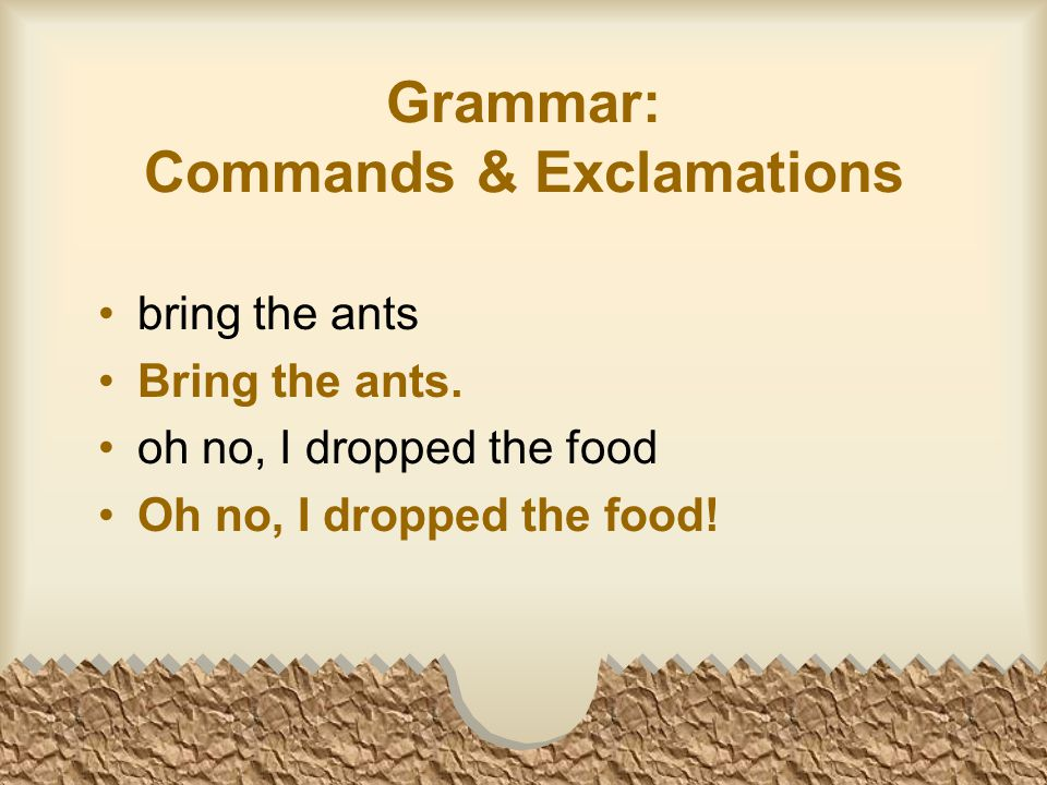 Grammar: Commands & Exclamations bring the ants Bring the ants.