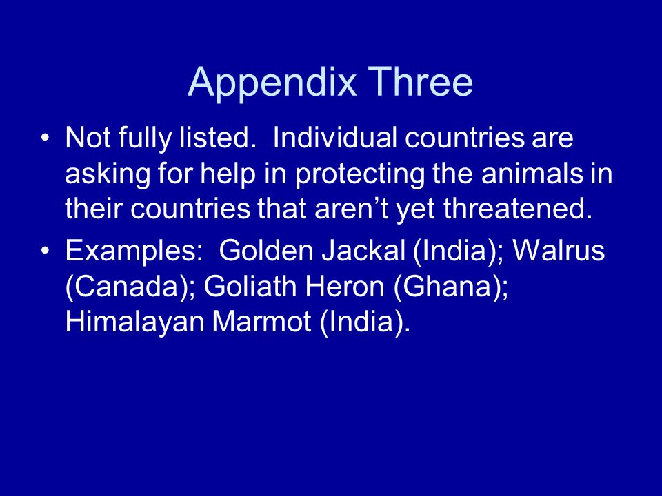 Appendix Three Not fully listed.