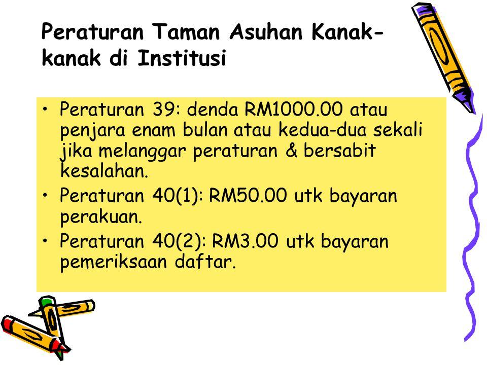 Peraturan 39: denda RM1000.00 atau penjara enam bulan atau kedua-dua sekali jika melanggar peraturan & bersabit kesalahan. Peraturan 40(1): RM50.00 ut
