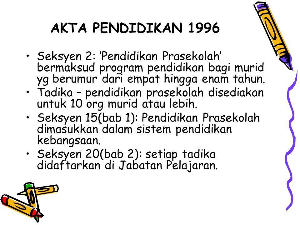 AKTA PENDIDIKAN 1996 Seksyen 2: 'Pendidikan Prasekolah' bermaksud program pendidikan bagi murid yg berumur dari empat hingga enam tahun. Tadika – pend