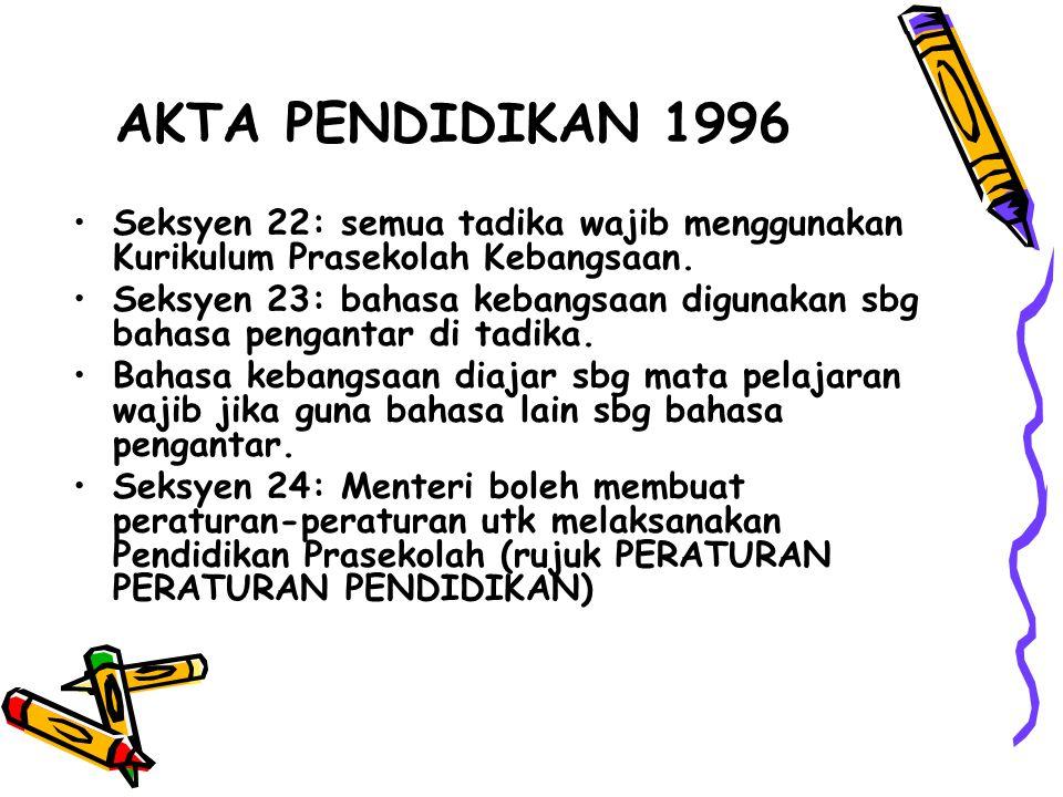 Seksyen 22: semua tadika wajib menggunakan Kurikulum Prasekolah Kebangsaan. Seksyen 23: bahasa kebangsaan digunakan sbg bahasa pengantar di tadika. Ba