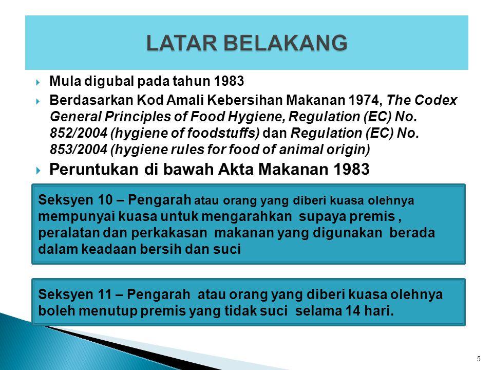  Mula digubal pada tahun 1983  Berdasarkan Kod Amali Kebersihan Makanan 1974, The Codex General Principles of Food Hygiene, Regulation (EC) No. 852/