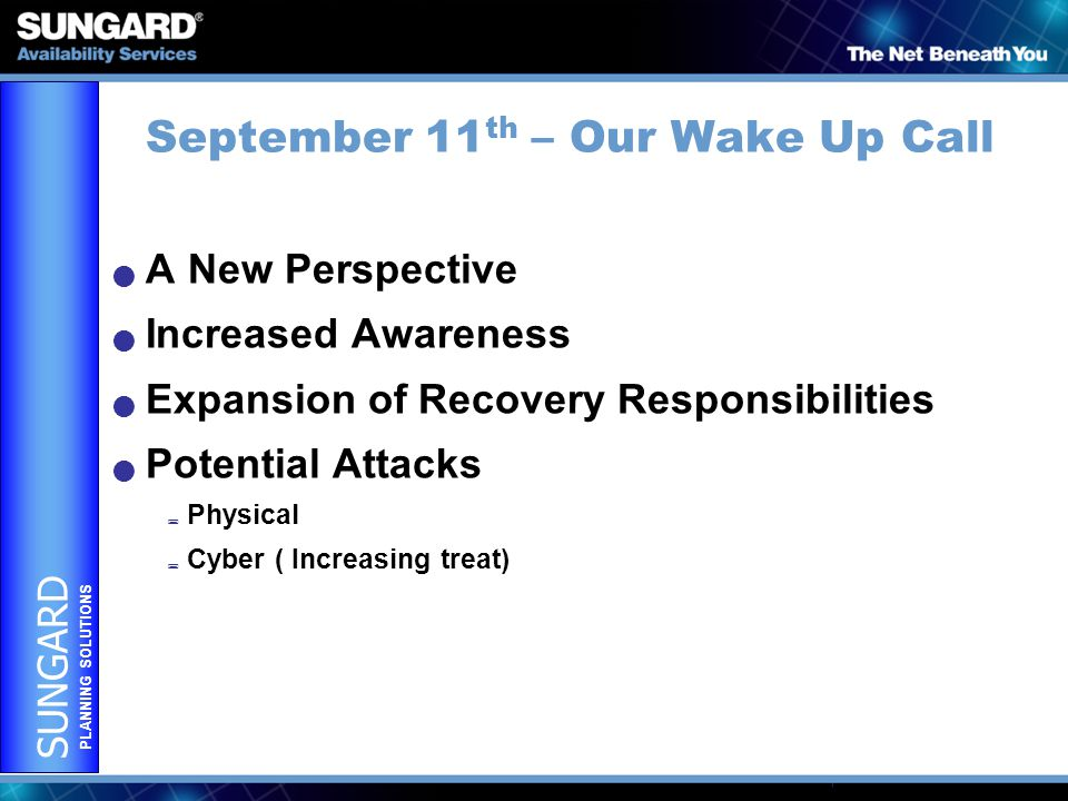 SUNGARD PLANNING SOLUTIONS September 11 th – Our Wake Up Call A New Perspective Increased Awareness Expansion of Recovery Responsibilities Potential Attacks  Physical  Cyber ( Increasing treat)
