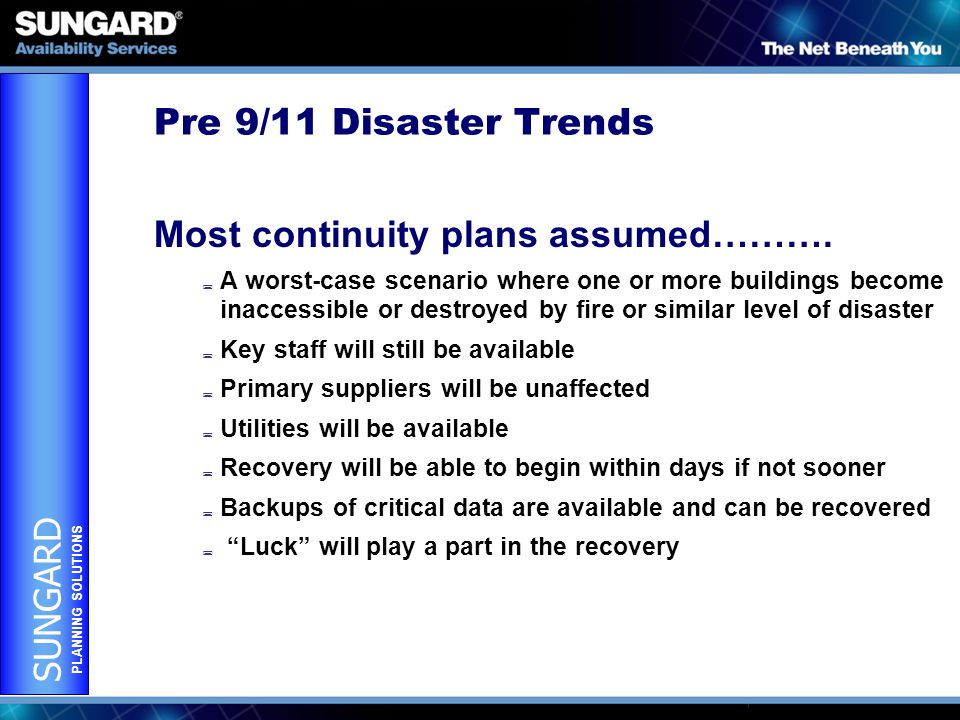 SUNGARD PLANNING SOLUTIONS Pre 9/11 Disaster Trends Most continuity plans assumed……….