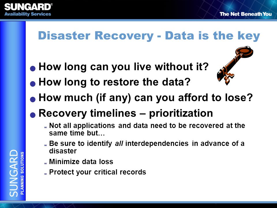 SUNGARD PLANNING SOLUTIONS Disaster Recovery - Data is the key How long can you live without it.