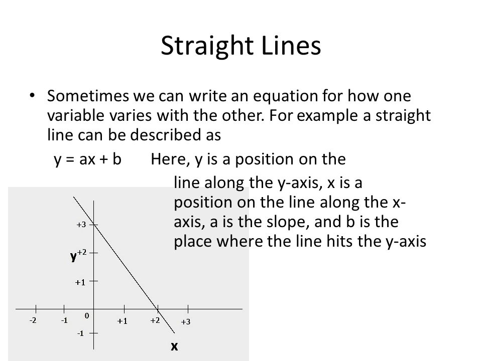 Straight Lines Sometimes we can write an equation for how one variable varies with the other. For example a straight line can be described as y = ax +