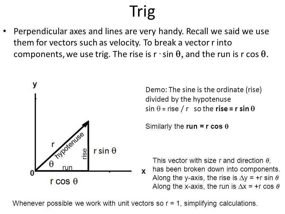 Trig. Perpendicular axes and lines are very handy. Recall we said we use them for vectors such as velocity. To break a vector r into components, we us