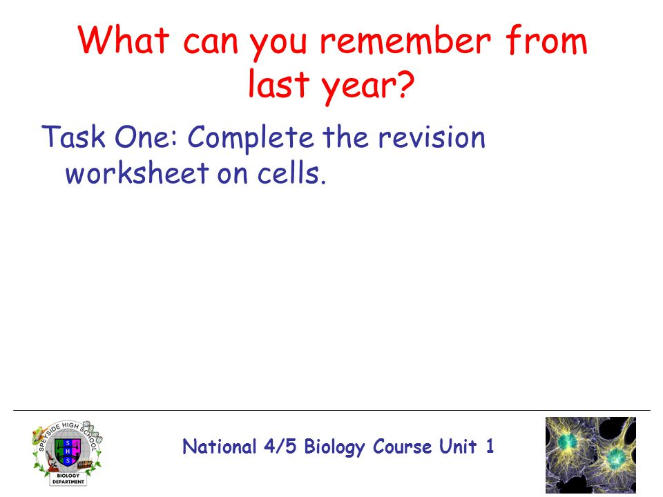 National 4/5 Biology Course Unit 1 What can you remember from last year? Task One: Complete the revision worksheet on cells.