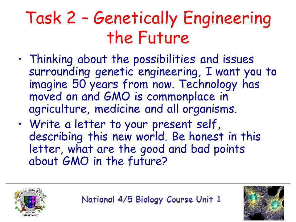 National 4/5 Biology Course Unit 1 Task 2 – Genetically Engineering the Future Thinking about the possibilities and issues surrounding genetic enginee